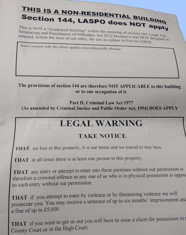 forfeiture notice template - squatters rights we can help evict travellers from